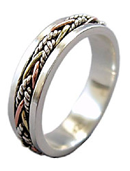 cheap -twine 5.5 mm narrow band tri-color sterling silver meditation spinner ring (style us40) (10)