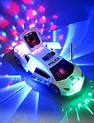 cheap -music light car stunt, electric automatic deformation lifting 360 degree rotating speed toy car, universal wheel police car with led and music (white)