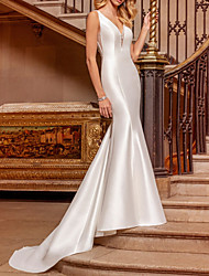 cheap -Mermaid / Trumpet Wedding Dresses V Neck Sweep / Brush Train Satin Sleeveless Simple with 2021