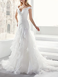 cheap -A-Line Wedding Dresses V Neck Court Train Chiffon Tulle Sleeveless Formal Simple Luxurious with Cascading Ruffles 2021