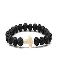 cheap -8mm ornament lava volcanic stone beads turquoise cross elastic stretch bracelet religion bangle for women men-white