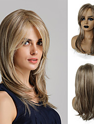 cheap -Synthetic Wig kinky Straight Natural Straight Bob Asymmetrical With Bangs Wig Blonde Medium Length Light golden Synthetic Hair 20 inch Women's Life Synthetic Best Quality Blonde HAIR CUBE