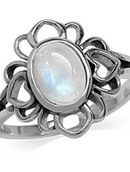cheap -natural moonstone 925 sterling silver filigree flower ring size 7