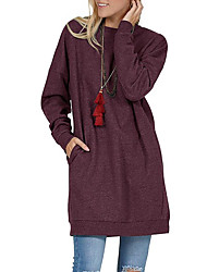 cheap -Women's Shift Dress Knee Length Dress Long Sleeve Solid Color Fall Spring Casual 2021 Blue Wine Dark Gray S M L XL