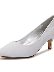 cheap -Women's Wedding Shoes High Heel Pointed Toe Wedding Party & Evening Lace Lace White Champagne Ivory