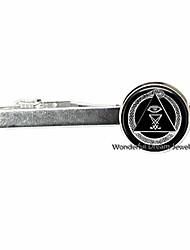cheap -new arrival illuminati tie pin tie clip baphomet freemason pentagram tie pin art photo tie clip,pu207 (silver)