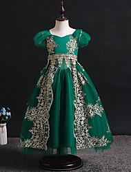 cheap -Princess Flapper Dress Dress Party Costume Girls' Movie Cosplay Cosplay Costume Party Green Dress Christmas Children's Day New Year Polyester Organza