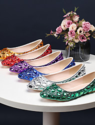 cheap -Women's Wedding Shoes Flat Heel Pointed Toe Wedding Flats Vintage Sexy Minimalism Wedding Party & Evening PU Rhinestone Crystal Sparkling Glitter Solid Colored Purple Red Blue