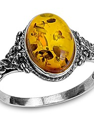 cheap -amber ring sterling silver small oval sizes 5,6,7,8,9,10,11,12