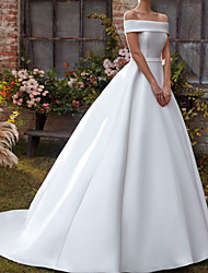 cheap -A-Line Wedding Dresses Off Shoulder Sweep / Brush Train Satin Sleeveless Country Simple with 2021