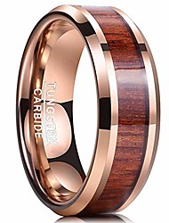cheap -wedding band for men wood tungsten carbide ring beveled edge 18k rose gold plated comfort fit size 10