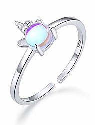 cheap -moonstone rings for women unicorn ring 925 sterling silver opal open rings