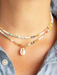cheap -Women's Pendant Necklace Beaded Necklace Fancy Friends Heart Hope Faith Shell Colorful Fashion Punk Trendy Glass Shell Alloy Rainbow 75 cm Necklace Jewelry 1pc For Party Evening Sport Masquerade Prom