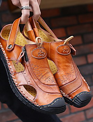 cheap -men genuine leather hollow out dual-way use beach sandals