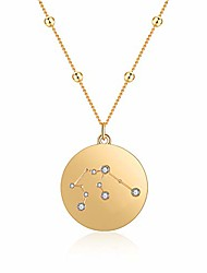 cheap -18k gold plated zodiac necklace, constellation pendant necklaces for girls women birthday gift with box (sagittarius)