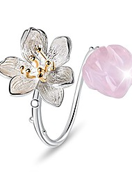 cheap -s925 sterling silver flower rings lotus whispers open ring handmade natural jewelry unique gift for women and girls (pink)