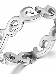 cheap -stainless steel celtic knot heart shaped eternity wedding band ring (silver, 7)