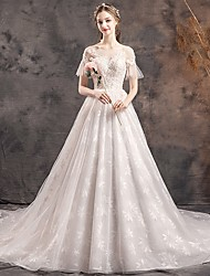 cheap -Princess Ball Gown Wedding Dresses V Neck Chapel Train Lace Tulle Sequined Short Sleeve Formal Luxurious with Beading Appliques 2020
