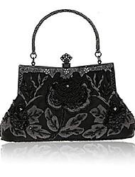 cheap -vintage floral beaded rhinestone embroidery clutch sequin wedding party prom bag bridal ladies crossbody evening handbag (black)
