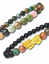 cheap -fengshui black wealth bracelet,women men good luck pixiu gold, feng shui 8mm healing colorful gemstone, natural crystal beaded black bracelets 2pcs