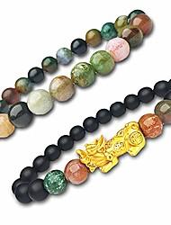 cheap -fengshui black wealth bracelet,women men good luck pixiu gold, feng shui 8mm healing colorful gemstone, natural crystal beaded black bracelets 2pcs