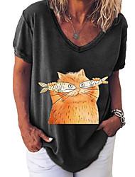 cheap -Women's Plus Size Tops Blouse Graphic Prints Large Size V Neck Short Sleeve Big Size