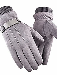 cheap -winter women's touchscreen faux suede super soft outdoor cycling gloves, thick fleece lined suede gloves(grey)