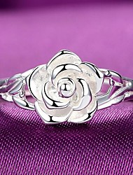 cheap -Ring 3D Silver Copper Silver-Plated Flower Fashion 1pc 7 8 / Women's