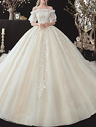 cheap -Princess Ball Gown Wedding Dresses Off Shoulder Watteau Train Lace Tulle Half Sleeve Formal Romantic Luxurious with Ruffles Appliques 2021