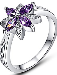 cheap -925 sterling silver created marquise cut amethyst filled dainty flower ring for women size 9