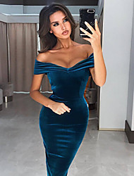 cheap -Women's Sheath Dress Knee Length Dress - Short Sleeve Solid Color Patchwork Spring Fall Off Shoulder Formal Sexy Party Going out Velvet Slim 2020 Wine Royal Blue Navy Blue S M L XL XXL