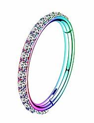 cheap -rainbow painting hinged segment piercing hoop 16g stainless steel cartilage earrings clear cz paved tragus helix earrings cartilage earring septum nose ring hoop