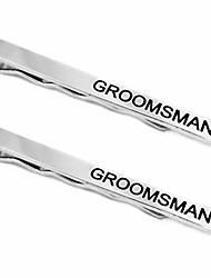 cheap -groomsman tie clips, silver tie bars with black lettering, 2 pack