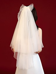 cheap -Three-tier Lace Wedding Veil Elbow Veils with Solid Tulle
