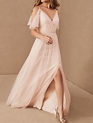 cheap -A-Line V Neck Floor Length Tulle Bridesmaid Dress with Pleats