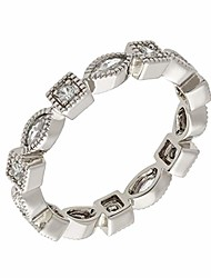 cheap -18k white gold plated cz simulated diamond stackable eternity ring size 9