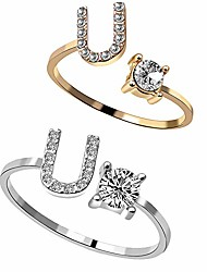 cheap -2pc/set initial letter alphabet knuckle rings a-z silver and gold crystal adjustable finger ring for women girl jewelry ((gold+silver) u)