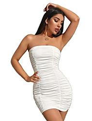 cheap -Women's Sheath Dress Short Mini Dress - Sleeveless Solid Color Backless Mesh Summer Strapless Hot Sexy Party Holiday Slim 2020 White Black Purple Orange S M L XL