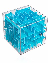 cheap -3d puzzle ball maze cube - skill game 8x8 cm - boy and girl gift (blue)