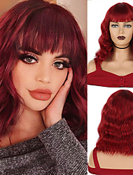 cheap -Short Bob Style Wavy Synthetic Wigs 14 Inches 210g  with Bangs Heat Resistant Cosplay Wig  African American 14 colors available
