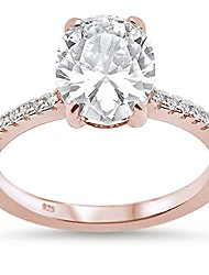 cheap -sterling silver rose gold plated oval cut cubic zirconia engagement ring sizes 5