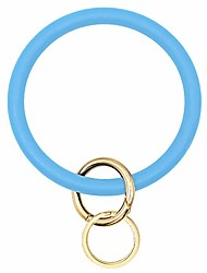cheap -wristlet keychain circle silicone bangle keyring oversized bracelet key ring holder for women girl, orange
