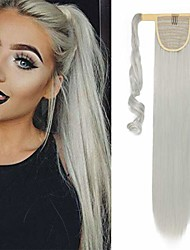 """cheap -26"""" long straight wrap around ponytail extensions synthetic clip in ponytail hair extensions hairpiece - silver gray"""