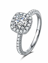 cheap -white gold plated sterling silver halo setting d-e color moissanite simulated diamond engagement ring for women, 1/2 carat size 7