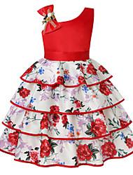 cheap -Kids Little Girls' Dress Floral Layered Print Purple Red Knee-length Sleeveless Flower Cute Dresses