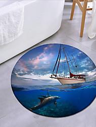 cheap -Ship In The Ocean Round Mat Carpet Door Mat Bedroom Living Room Carpet Study Room Carpet Kitchen Bathroom Anti-slip Mat