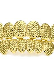 cheap -hip-hop 18k gold-plated dentures carvings cross-texture teeth grillz set (gold)