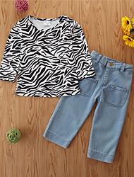 cheap -Kids Toddler Girls' Clothing Set Print Long Sleeve Cotton Casual Black Basic Regular Regular