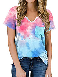 cheap -women's t shirt oversized v neck tie dye tops casual cute tee summer clothing 2xl