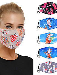 cheap -5 pcs Unisex Christmas Day Printed Breathable Masks Daily Life Masks